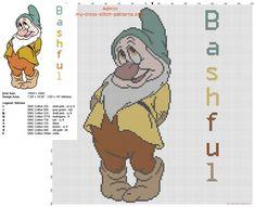 Bashful Dwarf from Disney Snow White and the seven dwarfs cross stitch pattern
