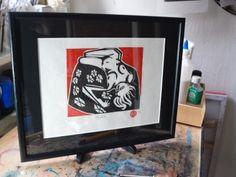 Linocut Nude: Agatha: Finished framed print