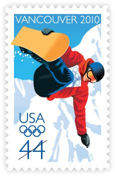 Featuring an illustration of a snowboarder, the U.S. Postal Service continued its tradition of honoring the spirit of athleticism and international unity inspired by the Olympic Games in 2010. The stamp issuance coincided with the XXI Olympic Winter Games, which were held February 12-28, 2010, in Vancouver, British Columbia, Canada.