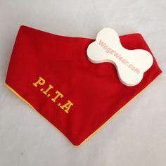 P. I. T. A = Pain In The A** Do you have a pup who can be a PITA ?? Wagz Wear Double Sided Bandanas are available in many colours with your choice of name or expression ! www.facebook.com/wagzwear Dog Id, Lost & Found, Bandanas, Pup, Your Style, Colours, Facebook, How To Wear, Products
