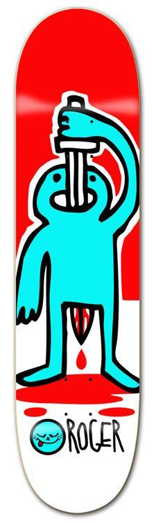 Roger skate boards Skateboard Deck Art, Skateboard Design, Skate Art, Cool Skateboards, Skate Decks, Longboarding, Freelance Graphic Design, Logo Sticker, Skates