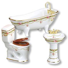 """Victorian Rose Bath w/Low Toilet. This is a scale miniature & not intended for children under 14 years of age. - Sink Dimensions; 2""""L x 1½""""W x 3¼""""H - Toilet Dimensions; 2¾""""L x 1½""""W x 3½""""H - Bathtub Di"""