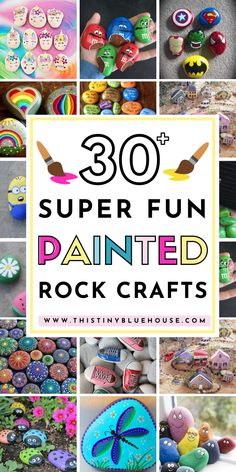 Here are 30 fun painted rock ideas that will provide hours of fun! These creative and unique painted rocks are a perfect family friendly activity. Rock Crafts, Crafts To Do, Easy Crafts, Crafts For Kids, Rock Painting Ideas Easy, Painting For Kids, Painting Pots, Ink Painting, Craft Activities For Kids