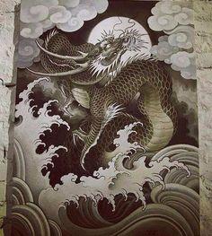 japanese tattoos meaning Japanese Drawings, Japanese Dragon Tattoos, Japanese Tattoo Art, Japanese Sleeve Tattoos, Japanese Art, Koi Dragon, Dragon Art, Irezumi, Rauch Tattoo