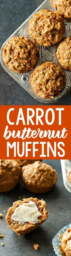 These kid-friendly carrot butternut whole grain muffins are naturally sweetened and totally delicious! My daughter and I both LOVE these healthy muffins!