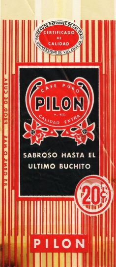 1950s Cafe Pilon Cuban Coffee 20 Cents Bag - and they still make it in Miami