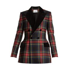 Racil Oxford tartan-checked double-breasted wool blazer (12.754.690 IDR) ❤ liked on Polyvore featuring outerwear, jackets, blazers, black multi, blazer jacket, pocket jacket, plaid blazer, double breasted wool blazer and double breasted jacket