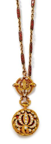 Tiffany & Co. AN 18K YELLOW GOLD, ENAMEL AND DIAMOND-SET OPEN-FACED LADY'S PENDANT WATCH WITH BROOCH CIRCA 1895 Sold $7,500.     sotheby's n08848lot6fvqmen