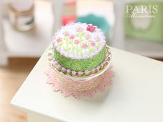 Summer Garden Cake Iced with Flowers and Butterfly - Miniature Food in 12th Scale for Dollhouse