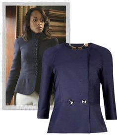 One of Olivia Pope's favorite ways to accentuate her waist is with a tailored dress jacket or blazer. Most often, it'll boast a subtle peplum with full length or three-quarter sleeves. The key to pulling off this genteel look is proper tailoring for that made-to-fit illusion. Ted Baker Zivia Peplum Jacket, $448; bloomingdales.com.