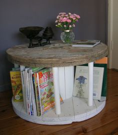 RETRO, SHABBY CHIC, INDUSTRIAL CABLE REEL COFFEE TABLE