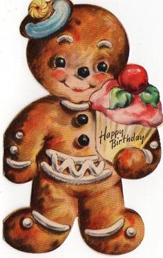 Cute gingerbread Happy Birthday Scrap