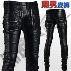 f750e03d70ecb Clothing I Want · The trend of male leather pants fashion personalized  motorcycle pants tight leather pants male leather pants