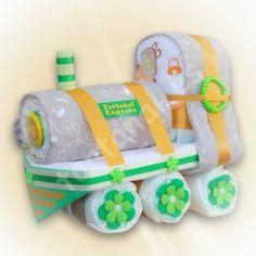 Tarta de pañales - Regalos originales para bebes Locomotora