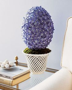 Egg-Shaped Hyacinth Topiary How-To // Easter Centerpieces