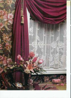 Cafe Curtains Filet Crochet Pattern and Afghan Butterflies Crochet