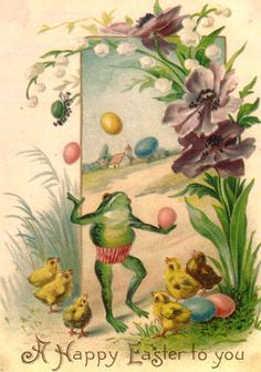 Rare vintage easter card with a frog and chicks!