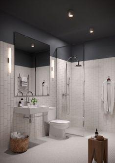 Un plafond sombre dans une salle de bains immaculée
