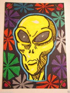 ACEO Original Glowing Alien Horror Black Light Collectible Artist Trading Card  #Miniature #ebay #aceo #horror #alien