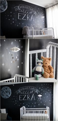 Amazing night sky theme nursery featuring a Baby Jives Co silver starry cloud mobile