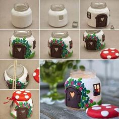 DIY Clay Jar Mushroom House Tea Light Holder : Been searching for a DIY clay project to make that looks unbelievable? This DIY Clay Mushroom is an amazing project to make & impress your friends Christmas Candle Decorations, Christmas Candles, Vase Decorations, Home Decoration, Jar Crafts, Diy And Crafts, Crafts For Kids, Home Candles, Diy Candles