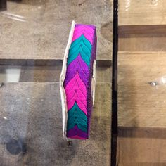 Ethnic ribbon of 20mm in fuschia, purple and turquoise