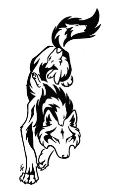 This Is S Completed Tattoo Of A Downward Leaping Wolf With Three Interior Wolves See The Commissioners Inked Here Link Please Do Not Copy