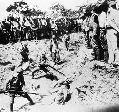 Chinese prisoners used as live targets for bayonet practice, 1938. During the Nanking Massacre, also called the Rape of Nanking, an estimated 200,000 Chinese citizens were brutally murdered by Japanese forces, who went out of their way to torture and brutalize them in horrific ways.