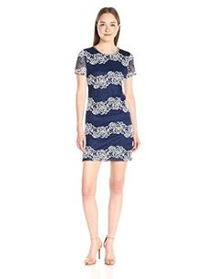 Jessica Simpson Womens Floral 2 Tone Lace Dress Navy White 6 -- Read more  at the image link. (Note:Amazon affiliate link)