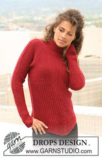 """Knitted DROPS jumper in rib and garter st in """"Alpaca"""". Size S - XXXL. ~ DROPS Design"""