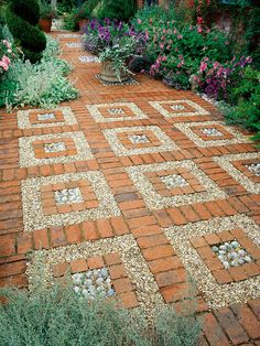 HGTV Gardens shows off the many ways gravel, pebbles, bark chips and other soft surfacing materials can look amazing in a garden design. | n.b. - Simple way to build a mosaic. Adding interest to a BACKYARD PATIO. This might work to expand our hardscape area.