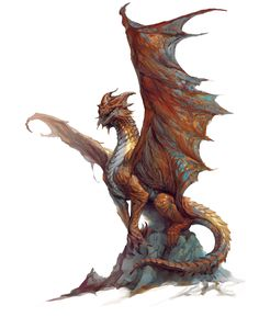 Dragon, Copper (from the D&D fifth edition Monster Manual). Art by Vance Kovacs.