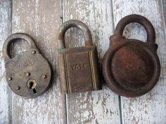 Vintage padlocks set of three Yale locks by LittleBeachDesigns, $18.00