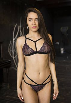 a61e27efead Items similar to Strappy set Blue lace set Strappy front bra Strappy bikini.  Waist strappy panties. Sexy lingerie