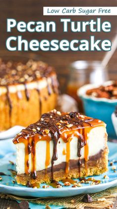 """""""Low carb Pecan Turtle Cheesecake have a """"brown sugar"""" pecan crust & light-textured vanilla cheesecake topped with toasted pecans, chocolate fudge, & caramel. No-bake, low carb keto & sugar free."""" Cheesy Keto Pesto - You must try this recipe. Turtle Cheesecake Bars, Sugar Free Cheesecake, Pecan Cheesecake, Cheesecake Toppings, Low Carb Cheesecake, Sugar Free Desserts, Low Carb Desserts, Sugar Free Pecan Pie, Chocolate Cheesecake"""