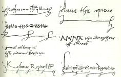 "The signatures of the Six Wives of Henry VIII (1) Katharine of Aragon as ""Ekatherina, the quene"", (2) Anne Boleyn as Queen, (3), Jane Seymour as Queen, (4) Anne of Cleves as ""Anna, the dowager of Cleves"", (5) Catherine Howard (her Christian name only), (6) Katherine Parr as ""Katherina Regina, KP"", and (7) in different hand-writing ""Kateryn, the Quene Regente, KP""."