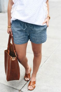 Chambray shorts if on the longer side..drawstring shorts work better for my body type
