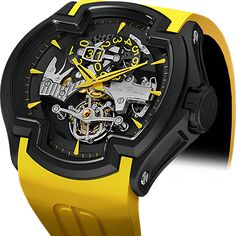 Lacroix DLC Yellow Mechanical Skeleton Watch For Men