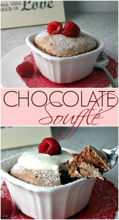 Chocolate Soufflé for Two. Light and luscious, serve warm with fresh Kahlua whipped cream and garnish with fresh raspberries for a really special treat.