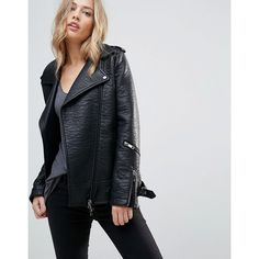 Jacket by Urbancode, Textured faux leather, Fully lined, Studded lapels, Asymmetric zip fastening, Zipped cuffs, Functional pockets, Longline cut, Cut longer t…