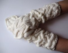 Long Mittens Gloves Arm Warmers White Soft Acrylic by Initasworks, $52.00