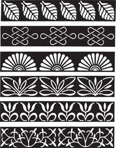 Aftosa - Deco Roller Border Pattern, Border Design, Pattern Art, Henna Stencils, Stencil Art, Stencil Patterns, Zentangle Patterns, Tiki Maske, Kunst Tattoos