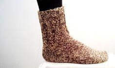 4c7e5b6776f0e Handmade SOCKS UNISEX Pair Wool Natural Knit Hiking Socks Womens Socks  Heather Brown Beige Really cozy woolen unisex socks hand knit by my  grandmother.