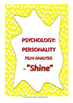 "This product enables students to apply different theories to David's personality after they watch the film ""Shine"" and to describe his personality development. Students are to apply Freud's theory and any one of humanistic, behavioural and type theories of personality to David's character."