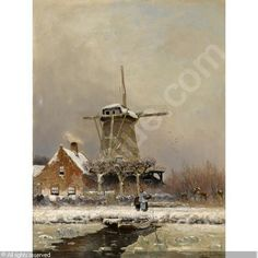 APOL Louis (Lodewyk Franciscus Hendrik) - FIGURES BY A WINDMILL IN A SNOW COVERED LANDSCAPE