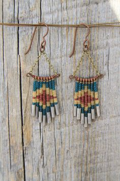 TRUCKEE. Beaded glass and brass chain earrings.  by bootsravendesigns on Etsy