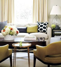 Living Room: Yellow, Blue, Black and White | What a beautiful combo of colors.