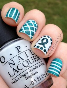 Ovarian Cancer Awareness mani --- I like this maybe I will find a nice peach color and do it for my own cancer awareness (Uterine Caner) Hair And Nails, My Nails, Teal Nails, Cute Nails, Pretty Nails, Pretty Makeup, Cancer Nails, Ovarian Cancer Awareness, Cervical Cancer