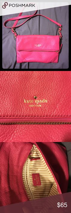 Kate Spade hot pink cross body purse Authentic Kate Spade hot pink cross body purse. Has an inside pocket within the purse as well as a big zipper pocket on the top cover portion. Purse has only been used twice & is in mint condition. Made of 100% leather. No trades, for sale only. kate spade Bags Crossbody Bags