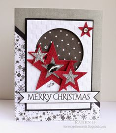 Merry Monday Christmas Card Challenge #107 - Use this sketch to create your Christmas card. Karen Creates Cards: